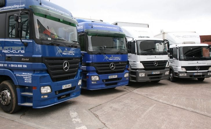 Gurteen Recycling vehicles in a row