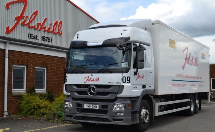 Filshill delivery truck outside depot