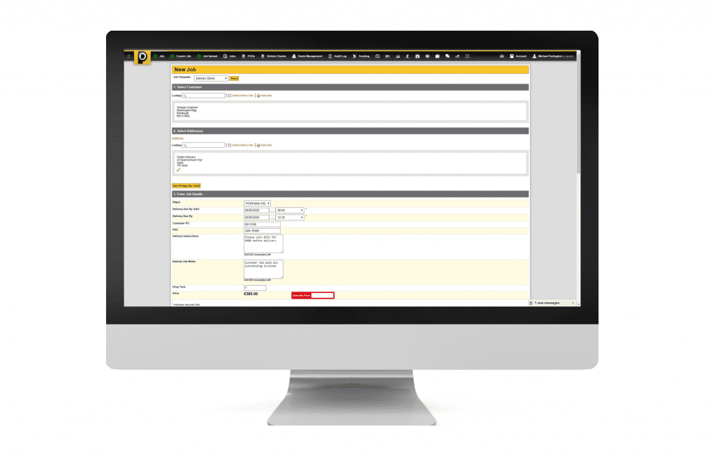 PODFather new job booking screen