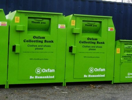Oxfam clothing collection banks