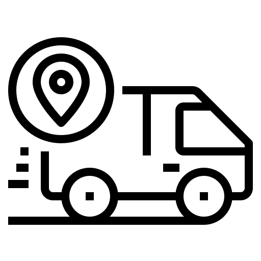 Delivery van with tracking icon