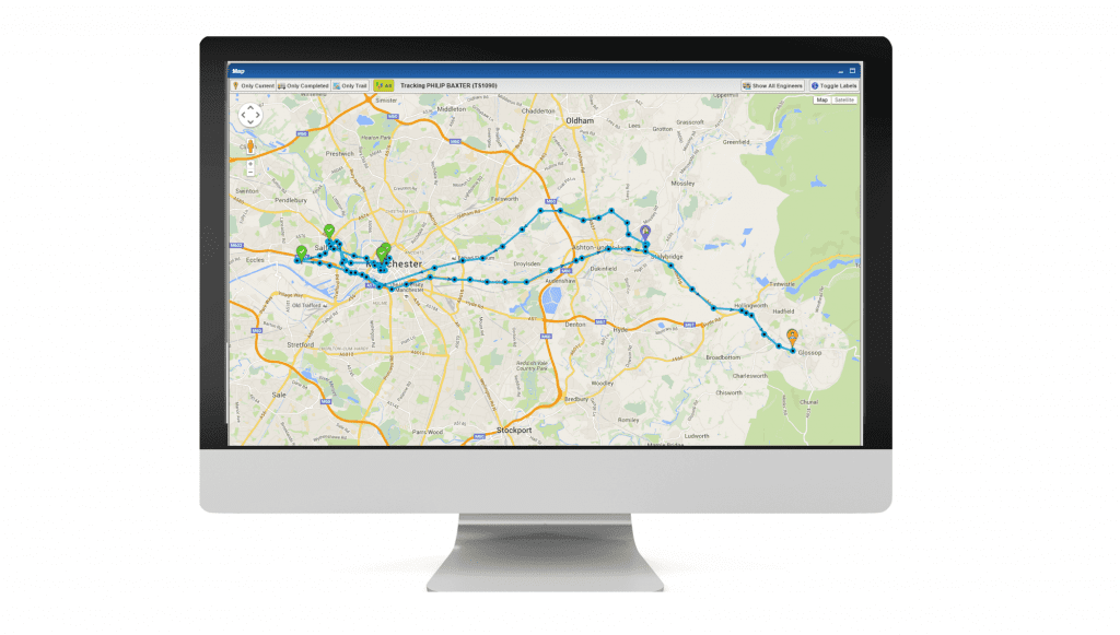 PODFather delivery tracking screen on monitor