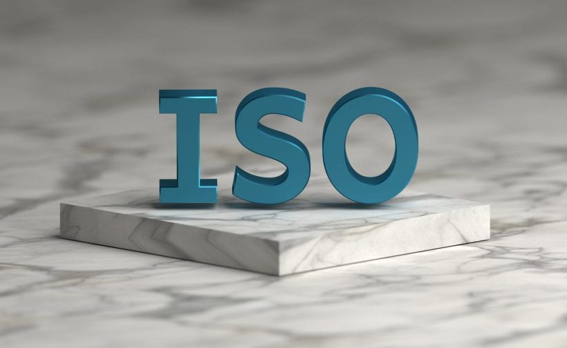 ISO sign on marble plinth
