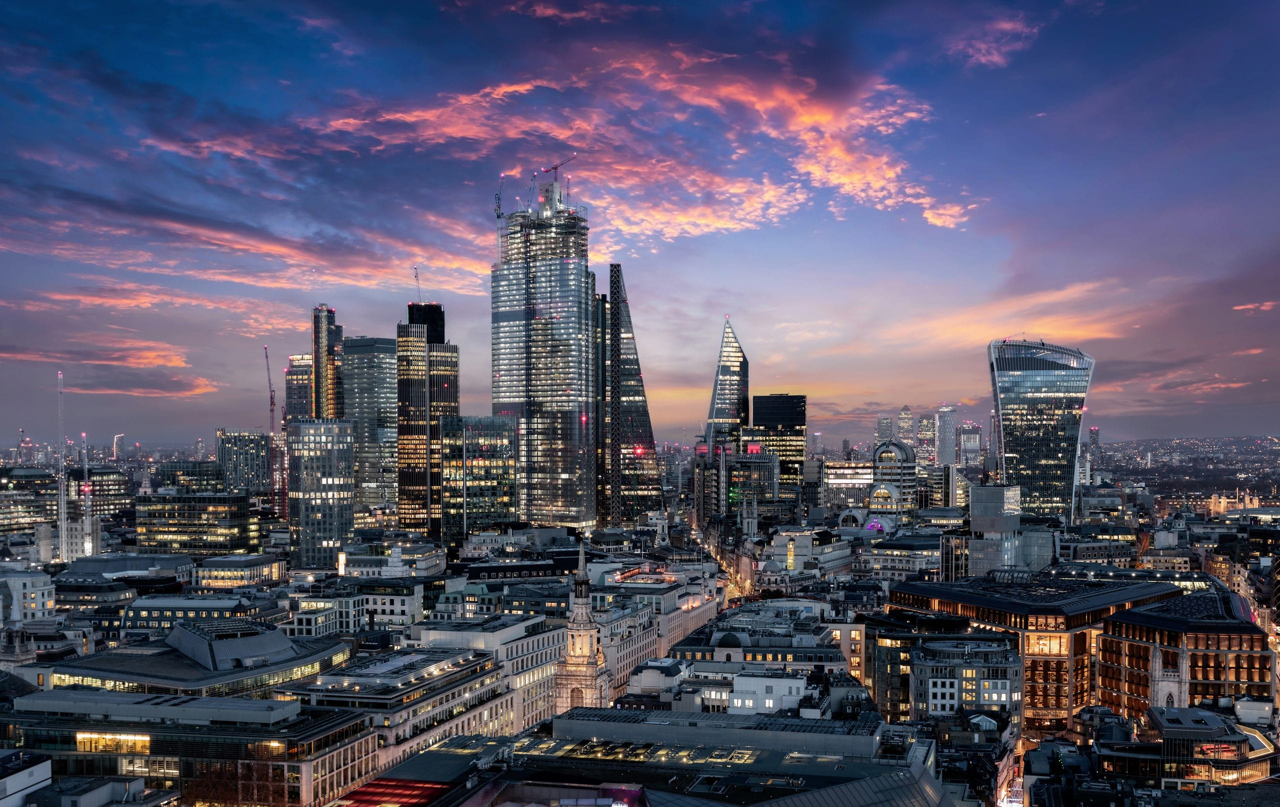 The city of London just after sunset
