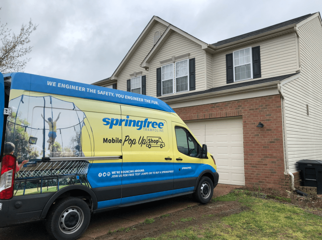 Springfree Trampoline being delivered; planned by PODFather